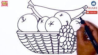 HOW TO DRAW FRUIT BASKET |LEARN TO DRAW FRUIT BASKET| FRUITE BASKET |FRUITS