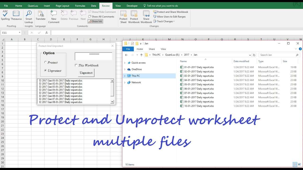 how to unprotect an excel sheet using vba