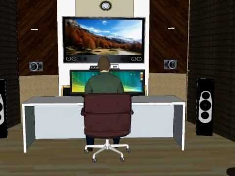 recording studio control room home theater combination