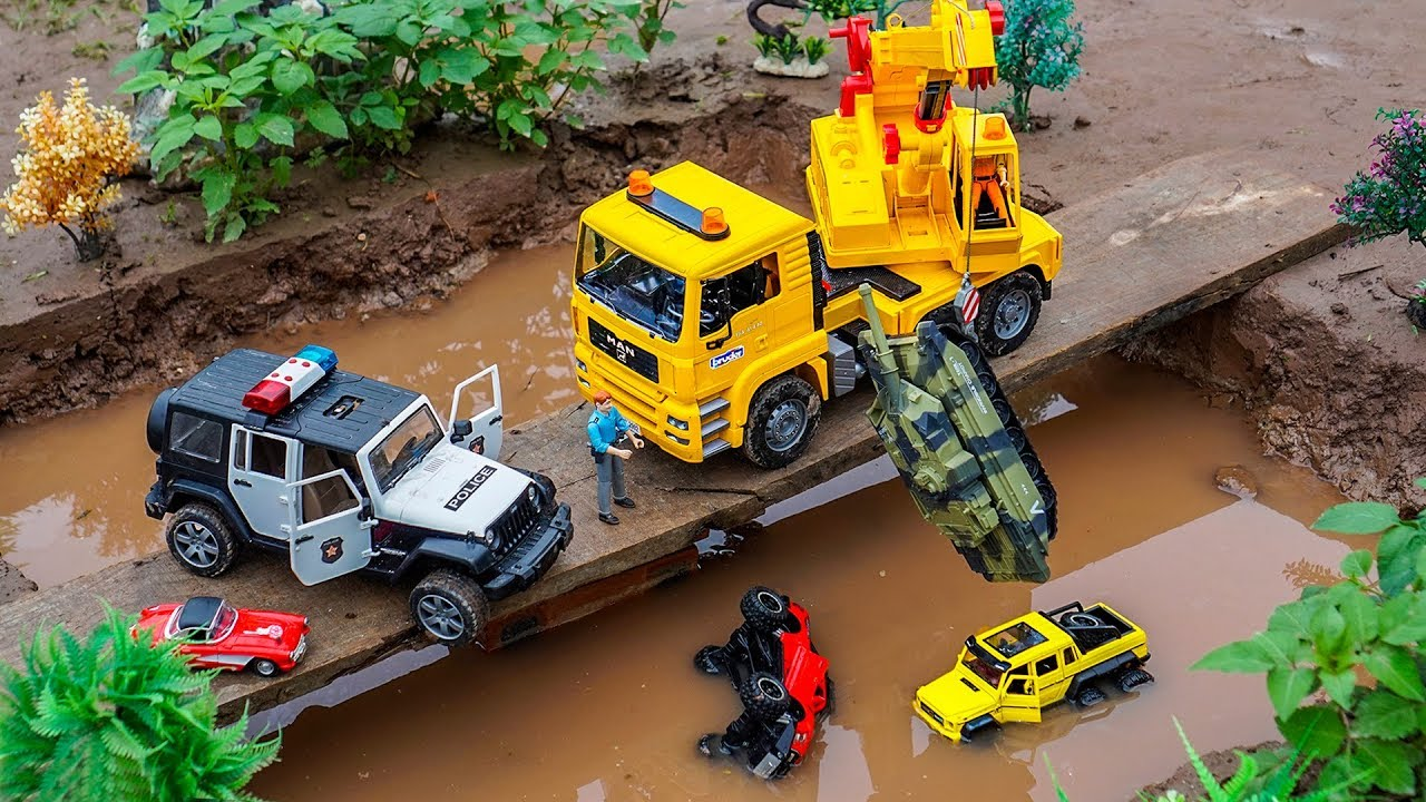 Crane Truck, Police Car Jeep and Military Vehicles For Kids | Construction Vehicles Rescue Car Toys