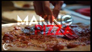 Making Buffalo Chicken and Bacon, Jalapeño Pizza