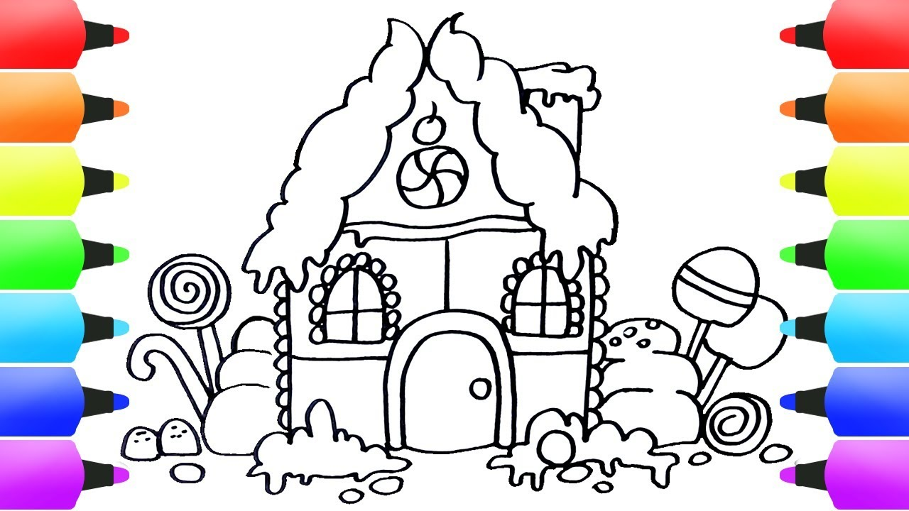 How To Draw Gingerbread House Easy For Kids Drawing Ideas For