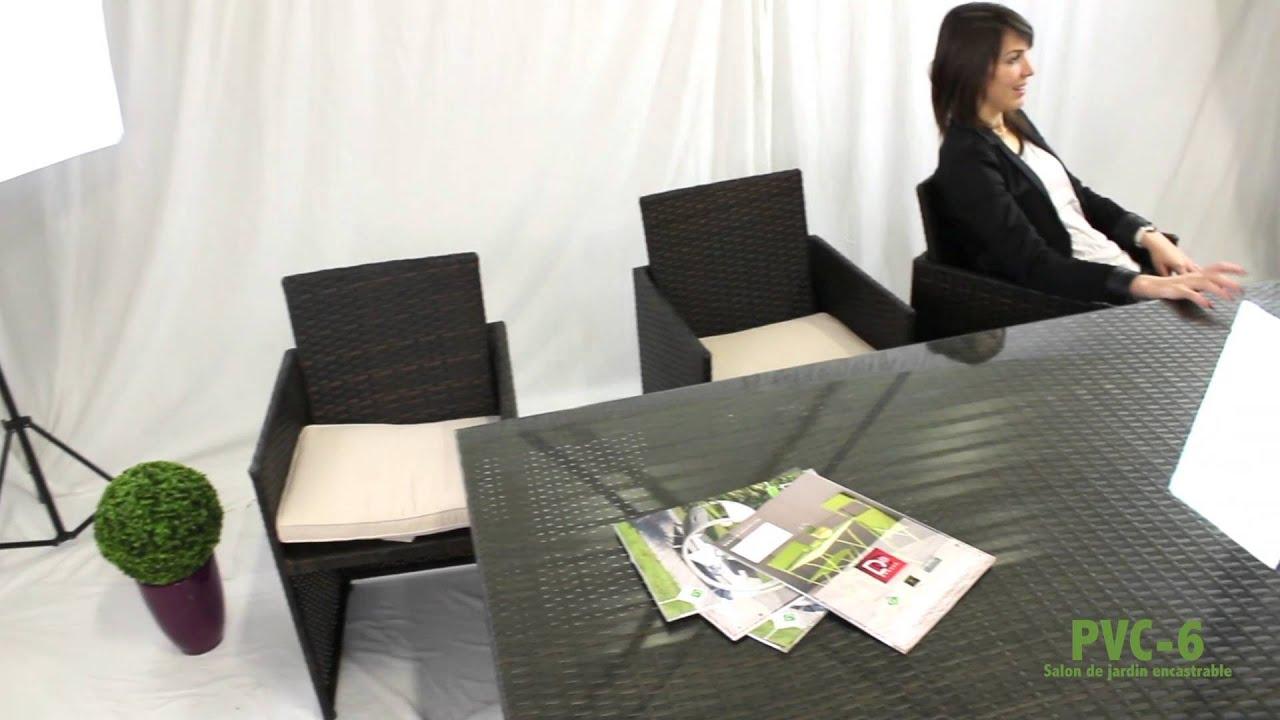 Salon de jardin encastrable en résine tressée DCB GARDEN - PVC-6-10 N+