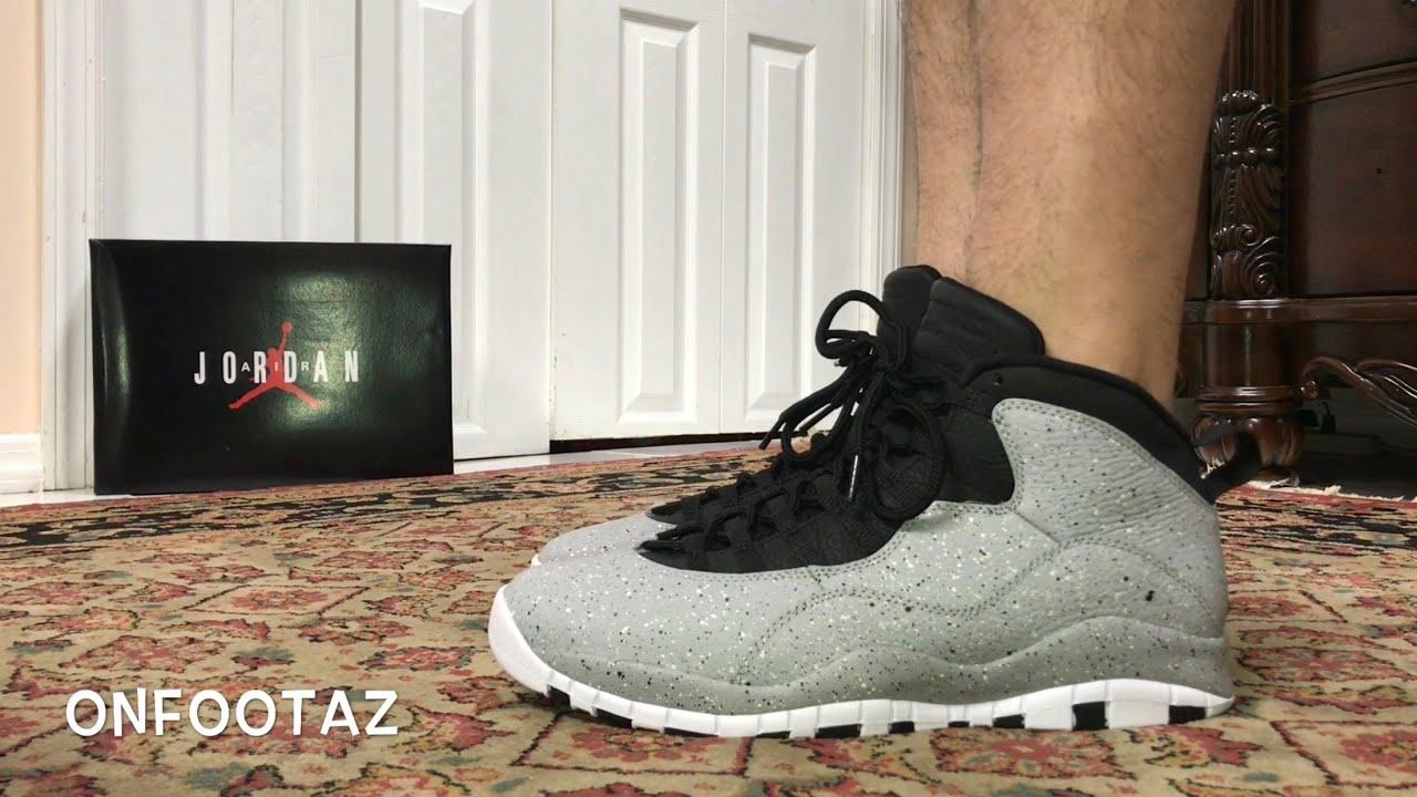 9bece174cb48 Air Jordan 10 X Cement Light Smoke Grey On Foot - YouTube