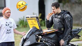 FUNNIEST MOTORCYCLE UBER PRANK!   EATING CUSTOMERS ORDERS!
