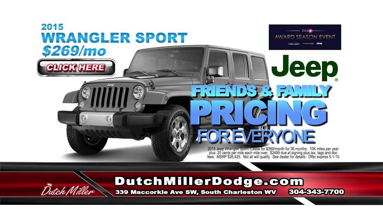 Dutch Miller Jeep Ad 2015 Jeep Wrangler Sport ly $269 per month