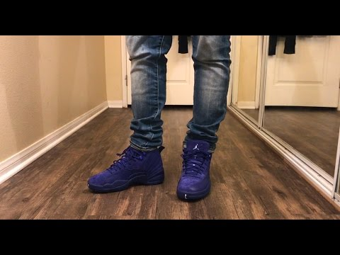 09a82f75dfd Jordan 12 Deep Royal Blue W/ on foot Review - YouTube