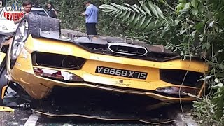 Lamborghini Aventador Rolls Over In Three-Car Crash  - Car Reviews Channel