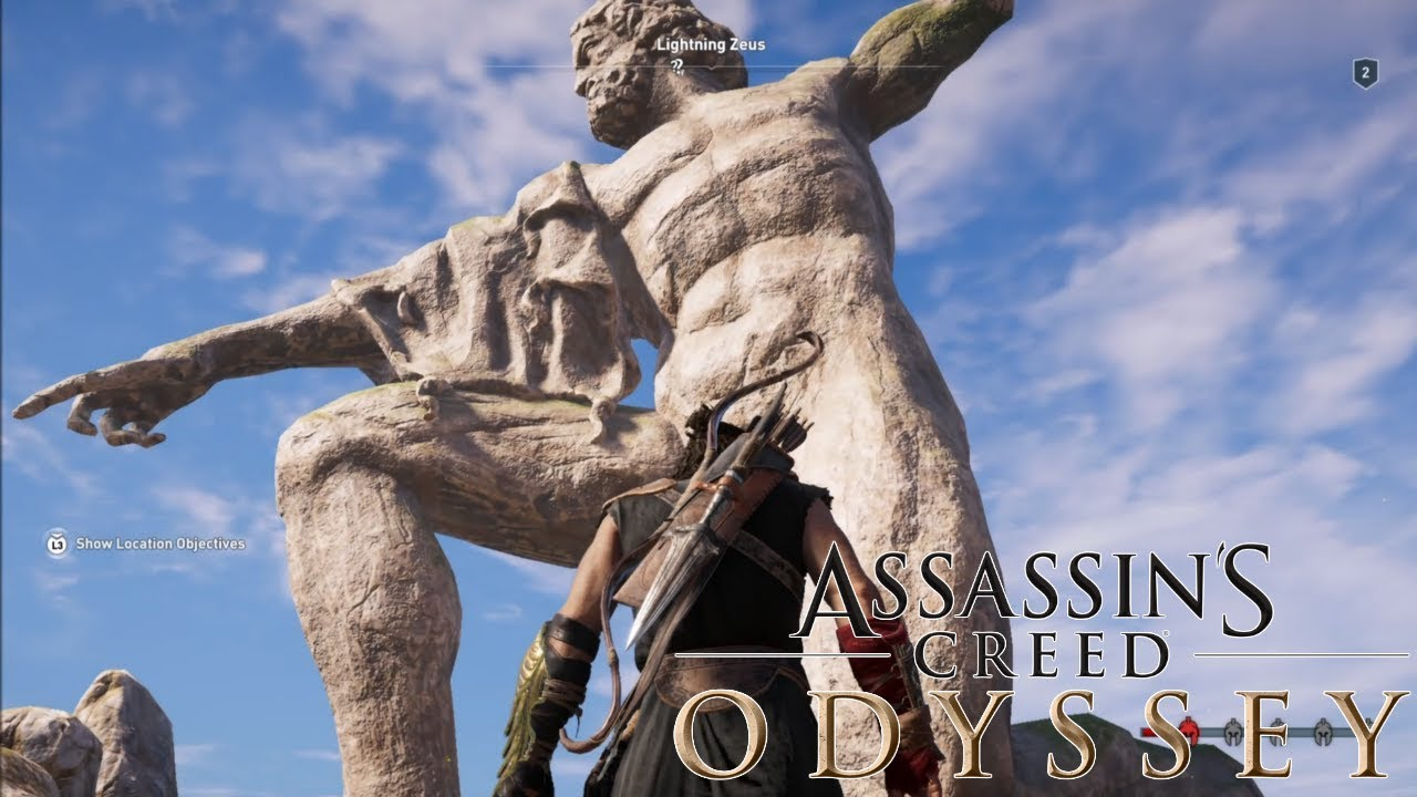 Assassin S Creed Odyssey Climbing On Lightning Zeus Statue