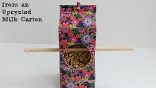 Milk Carton Craft: Diy Birdfeeder
