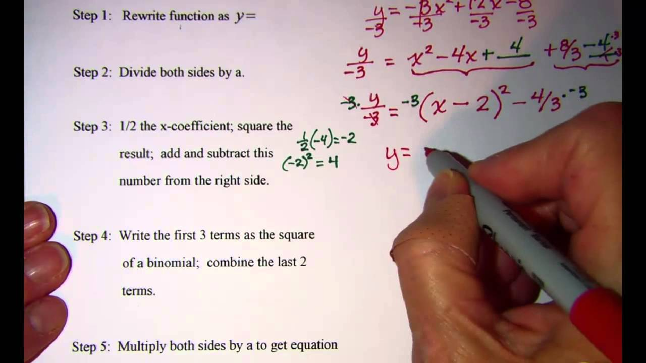 Completing the square to get vertex form of quadratic equation 1 completing the square to get vertex form of quadratic equation 1 youtube falaconquin