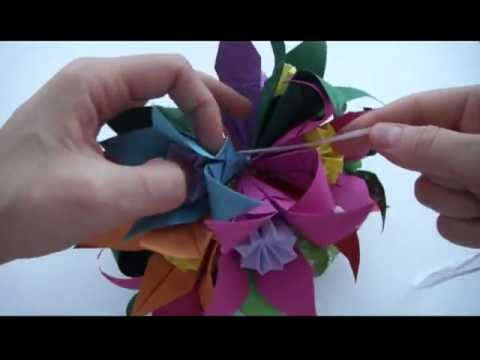 Кусудама оригами | Украшение из бумаги | Как сделать Кусудаму своими руками