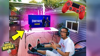 MY *NEW* FORTNITE GAMING SET UP!! (OUTSIDE MY HOUSE)
