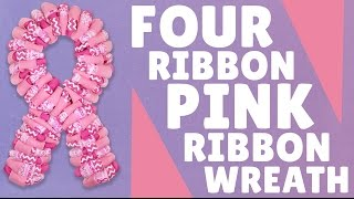 Four Ribbon Pink Ribbon Wreath(Full Blog Post: http://www.craftoutlet.com/blog/pink-ribbon-wreaths Buy all the supplies in our Wreath Recipe™ here: ..., 2015-07-29T20:06:09.000Z)