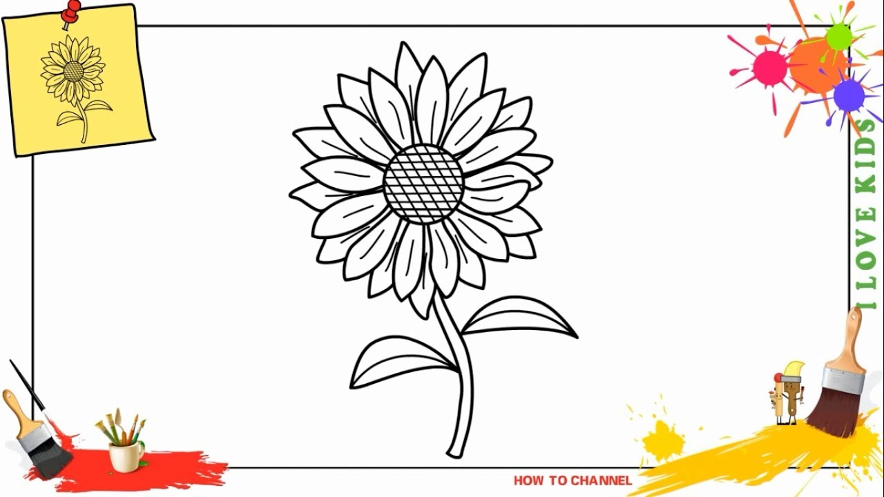 how to draw a sunflower 2 easy step by step for kids beginners