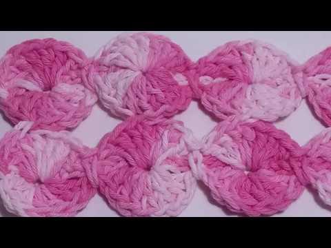 Fuxico de  Crochê  Barroco Multicolor/Círculos continuo