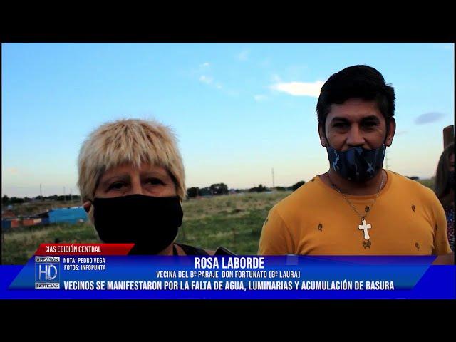 Vecinos de Bº Laura se manifestaron por la falta de agua, luminarias y acumulación de basura