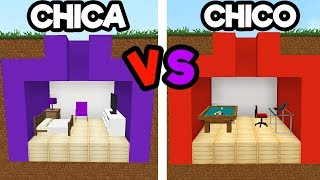 BASE SECRETA DE CHICO VS CHICA EN MINECRAFT