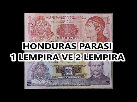 Honduras Parası 1 Lempira ve 2 Lempira - Honduras Currency - 1 Lempira & 2 Lempiras Banknotes
