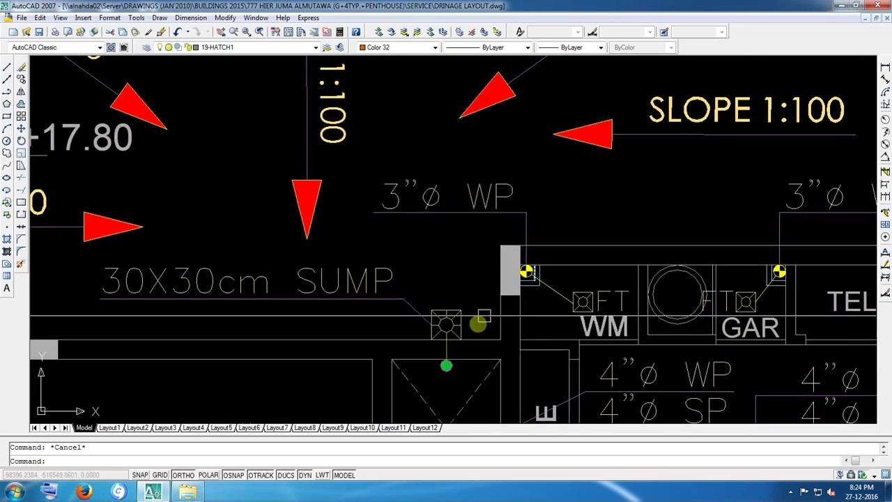 M E P  Drawing For DRAINAGE 2D auto CAD of UAE in Building line Sample