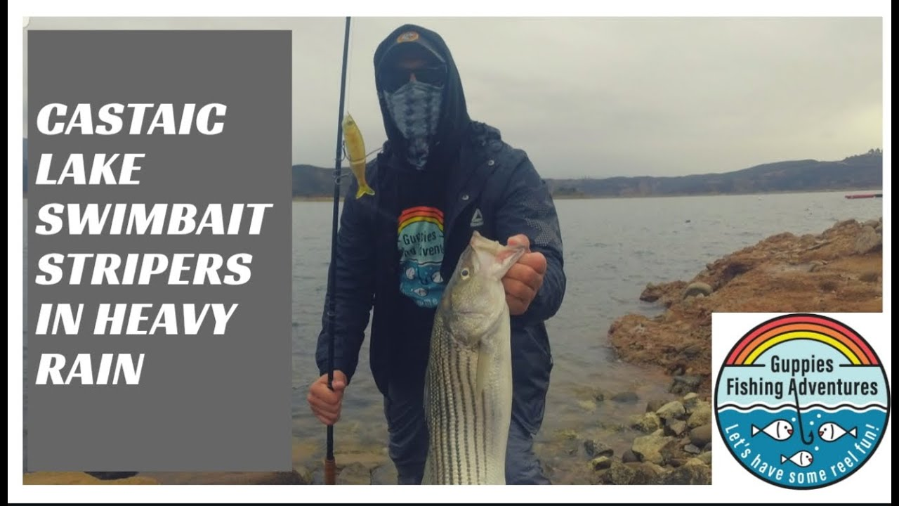 Castaic Lake Swimbait Stripers in Heavy Rain.
