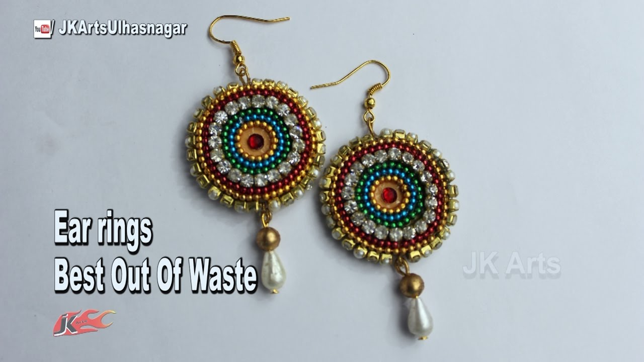 How to make earrings from waste material jk arts 1138 for Making hut with waste material