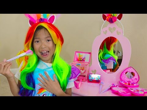 Wendy Pretend Play Rainbow Dash Unicorn Dress Up & New Kids Make Up Toys