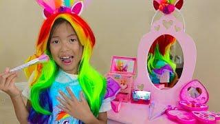 Wendy Pretend Play Rainbow Dash Unicorn Dress Up & New Kids Make Up Toys thumbnail