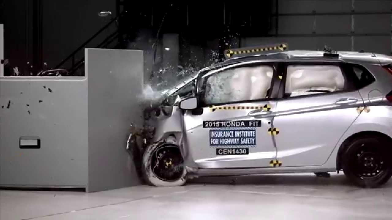 IIHS   2015 Honda Fit   Small Overlap Crash Test / ACCEPTABLE EVALUATION    YouTube