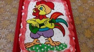 Торт рецепт ВКУСНЫЙ торт ПЕТУШОК Бисквитный торт со сметанным кремомИкусочками желе Cake decoration