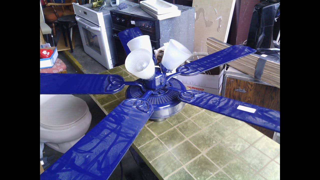 "52"" Blue Hampton Bay Huntington Ceiling Fan - YouTube"