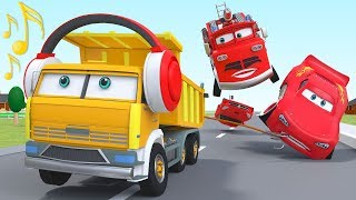 Red Fire Engine Cartoon Rescue Lightning Mcqueen Disney Cars Animation City for Kids