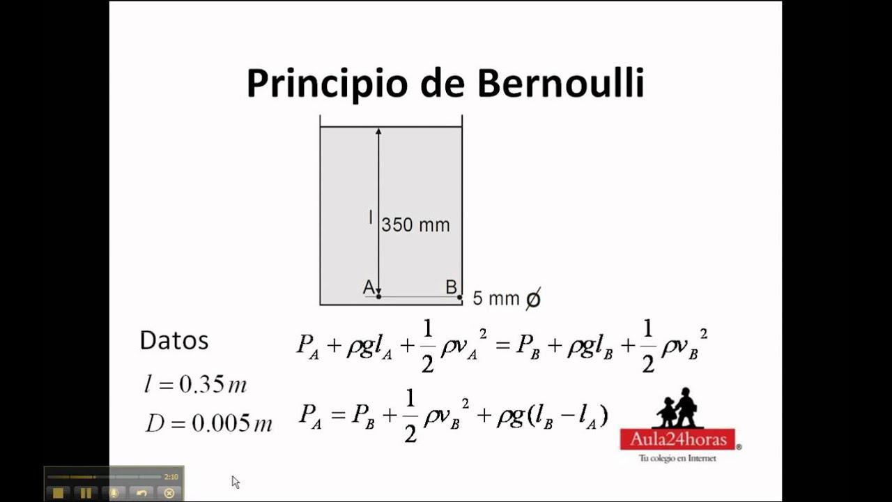 Principio de bernoulli ejercicio 3