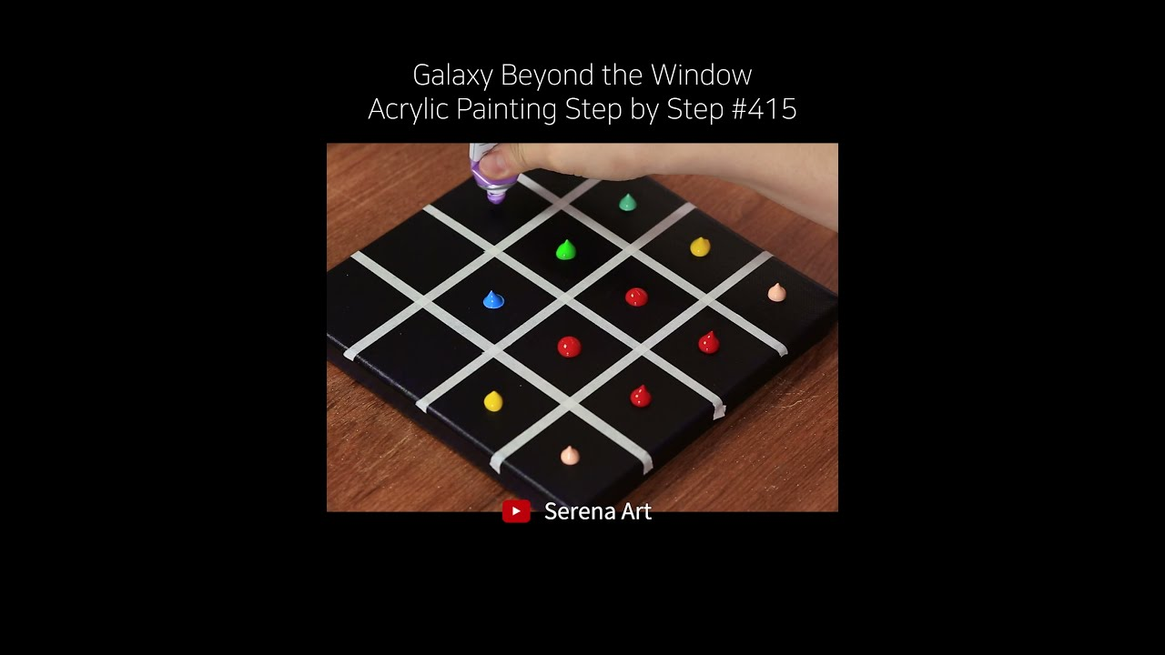 #Shorts Galaxy Beyond the Window Acrylic Painting on Canvas Step by Step #415