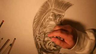 ROMAN WARRIOR DRAWING!!! - Amazing pencil art - Adam Johnston.wmv
