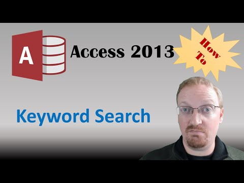 How To Create A Keyword Search in Access 2013