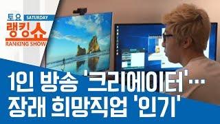 1인 방송 '크리에이터'…장래 희망직업 '인기'   토요랭킹쇼