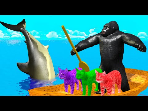Learn Colors Animals with Baby Cat and Fish Cartoon Rhymes Songs