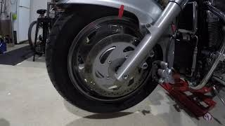 Static Balance Motorcycle Wheel On The Bike