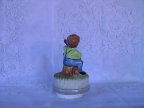 Boy with guitar - (Hummel/Goebel style) - Revolving Windup Music Box