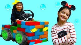 ELİF ÖYKÜ RENKLİ BLOKLARLA ARABA YAPTI -  Elif Öykü made a Toy Car Fun Kid Video