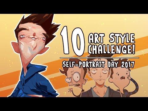 10 Art Style Challenge!  [Self-Portrait Day 2017]
