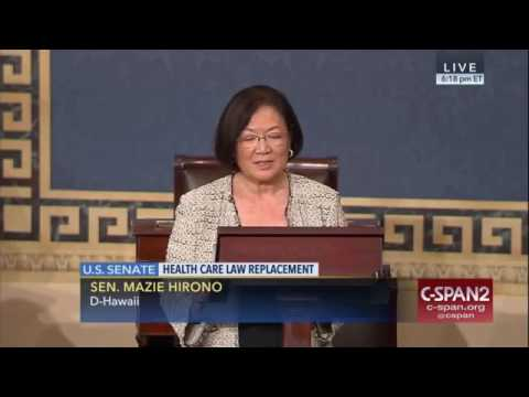 "Sen. Mazie Hirono: ""I have cancer""- Healthcare is a right and Trumpcare denies that"