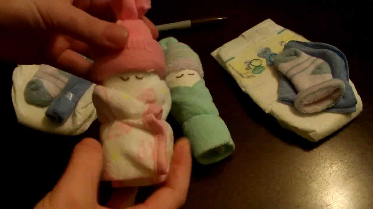 How to make a miniature diaper baby for baby shower youtube negle Gallery