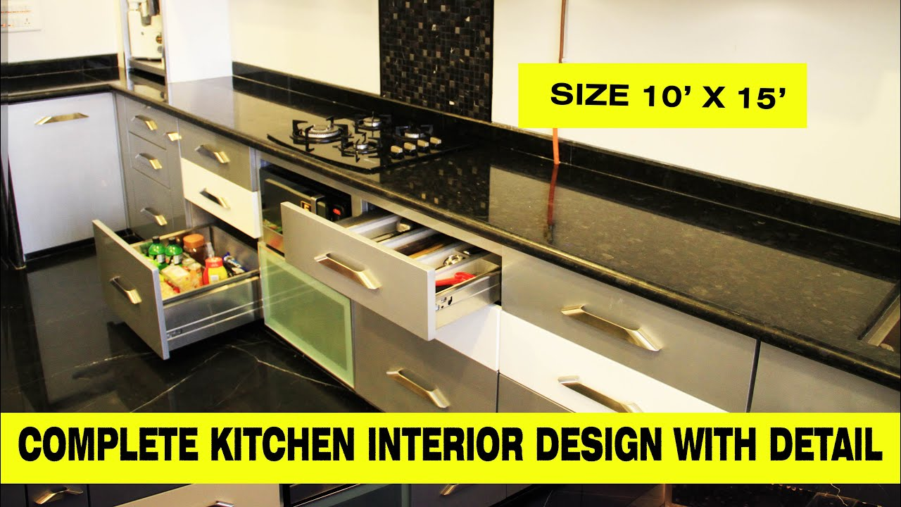 Complete Kitchen Interior Design with Detail I 15 feet x 10 feet किचन की डिजाइन in Hindi