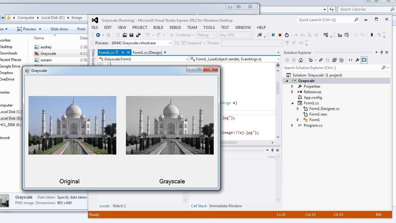 Visual Studio | Convert a color image into Grayscale in C#