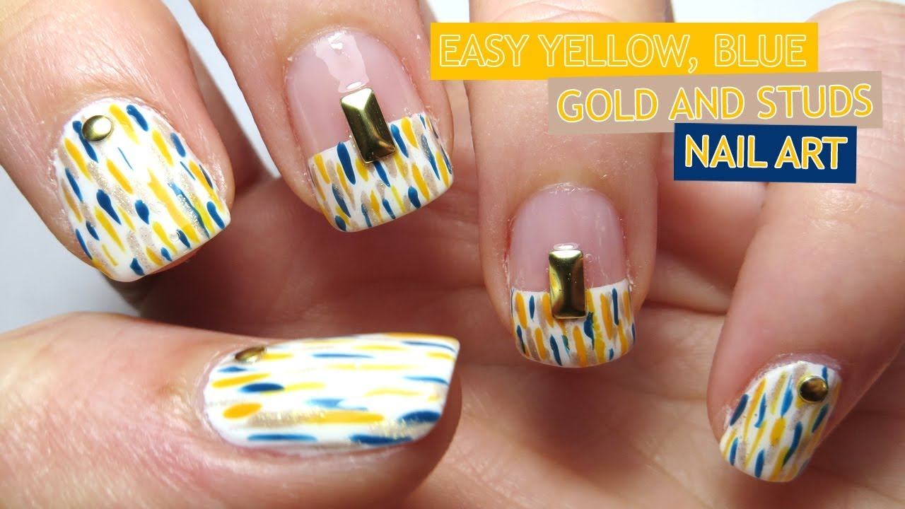 Easy Yellow Blue Gold And Studs Nail Art Youtube