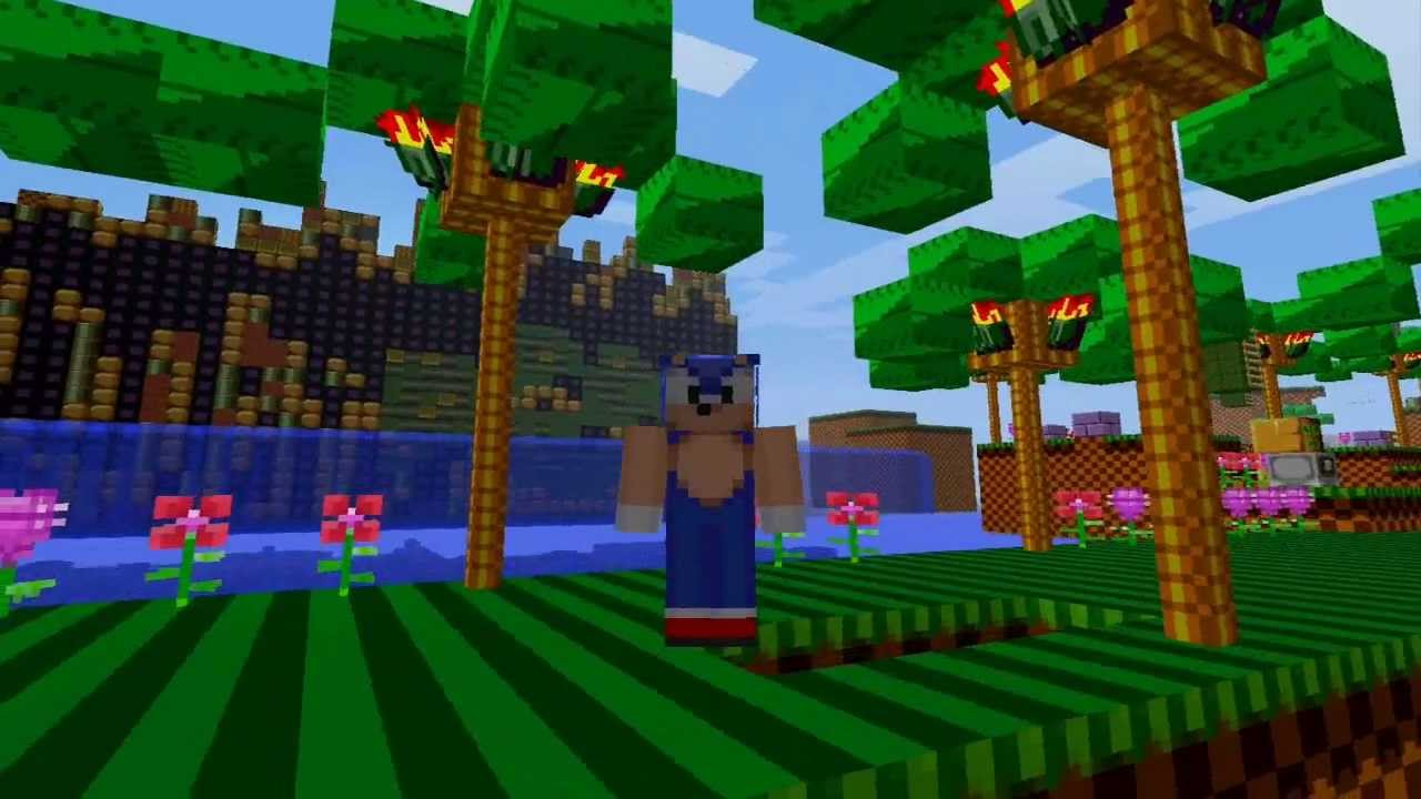 Sonic The Hedgehog Green Hill Run In Minecraft Youtube