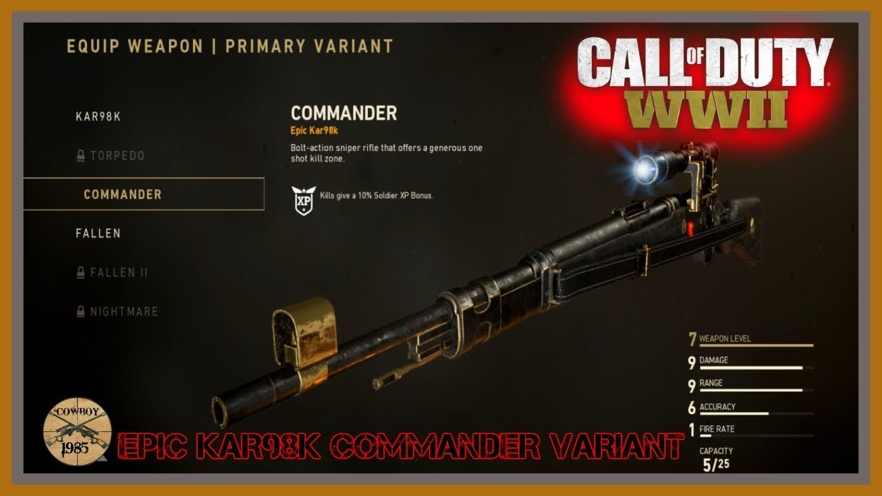 Call Of Duty Ww2 Kar98k Epic Commander Sniper Variant Unlock Cod Amino