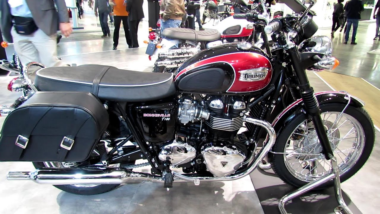 2014 Triumph Bonneville T100 Red Colour Walkaround - 2013 EICMA ...